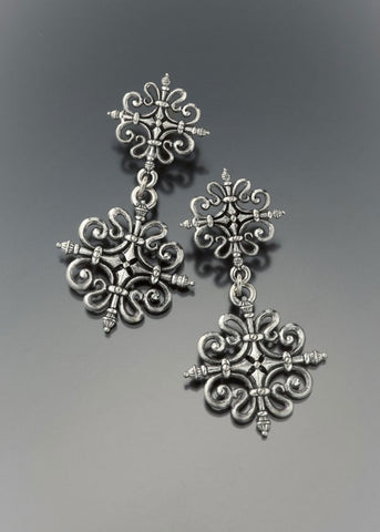 Baroque Medallion Drop Earring