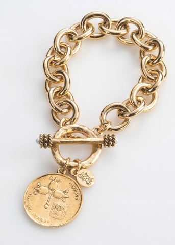 Israeli Coin Cable Link Bracelet