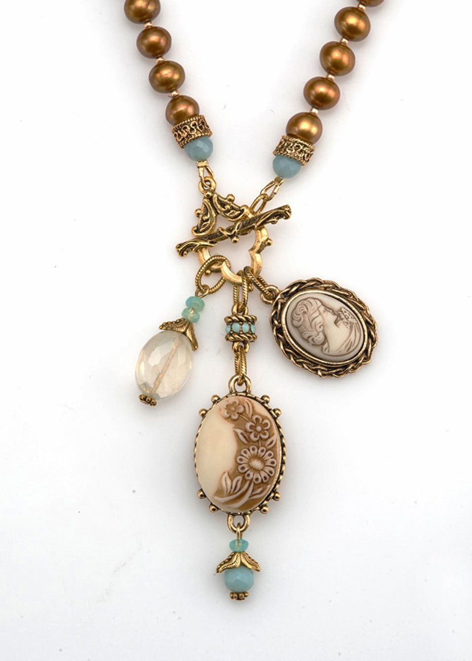 Pearl & Flower Cameo Necklace