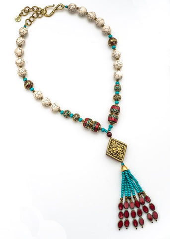 Tibetan Brass & Turquoise Necklace