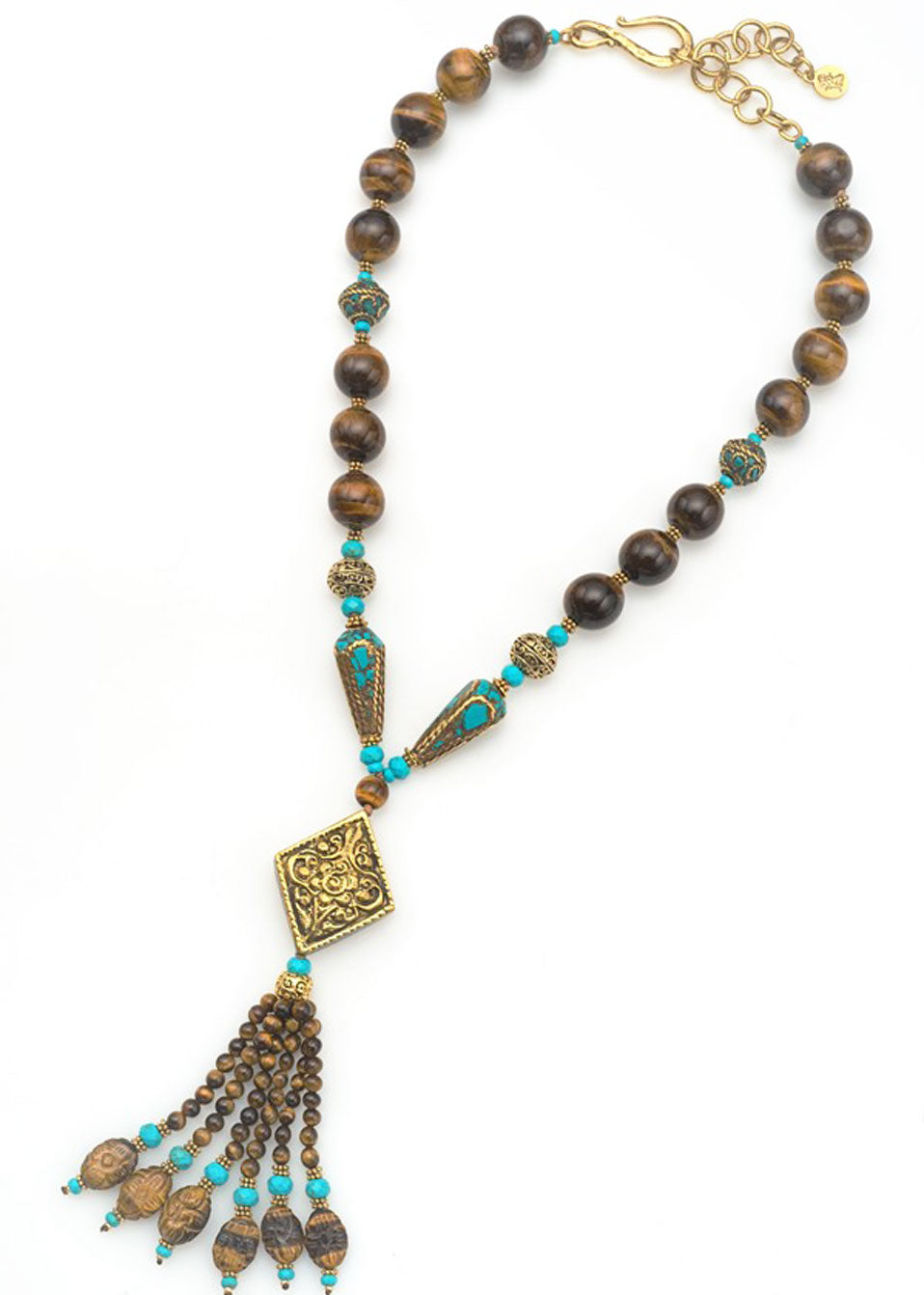 Tibetan Brass & Tigers Eye Necklace