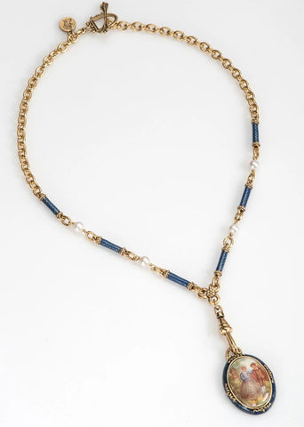 Cobalt Blue Enamel Fob Necklace