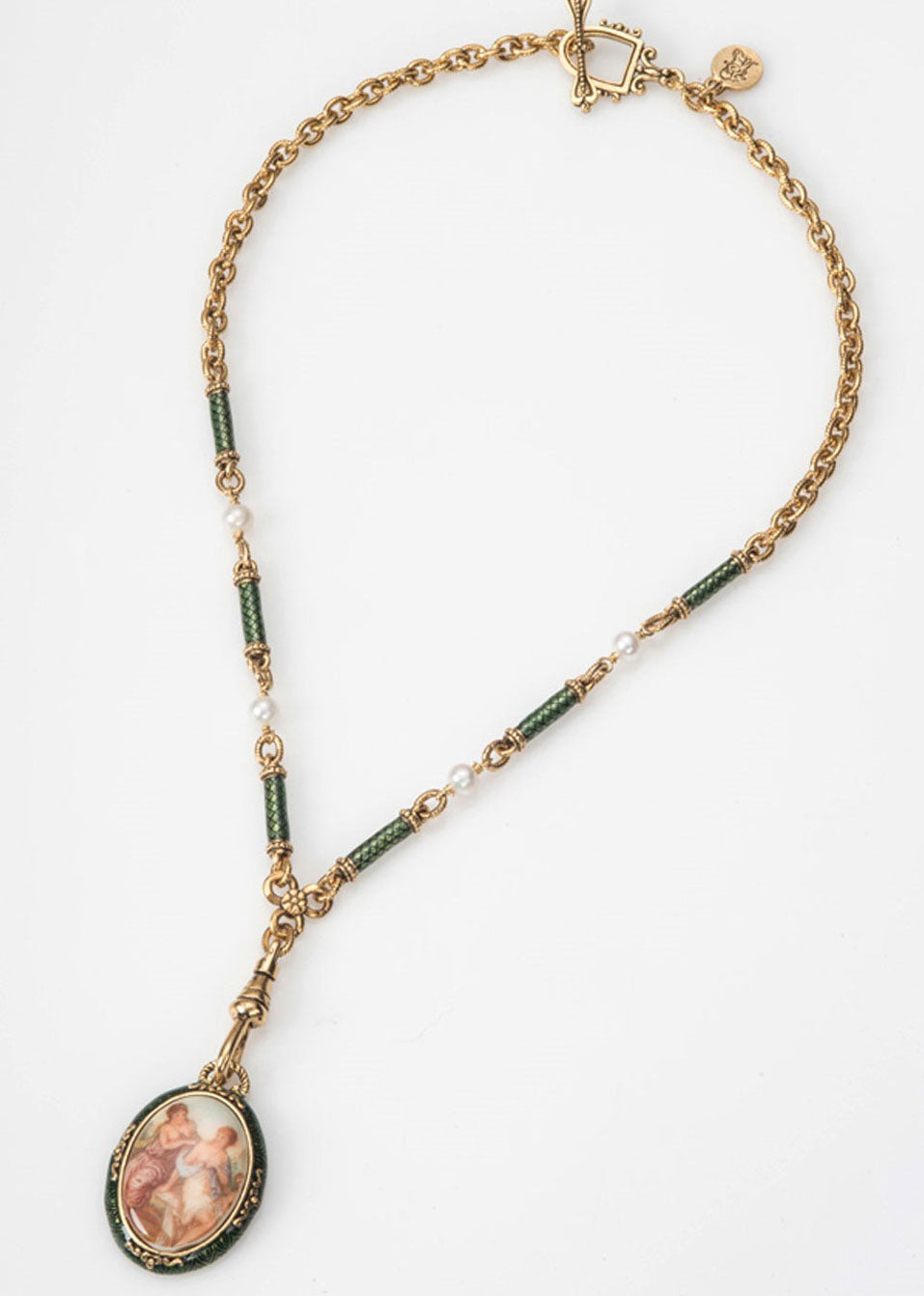 Emerald Green Enamel Fob Necklace