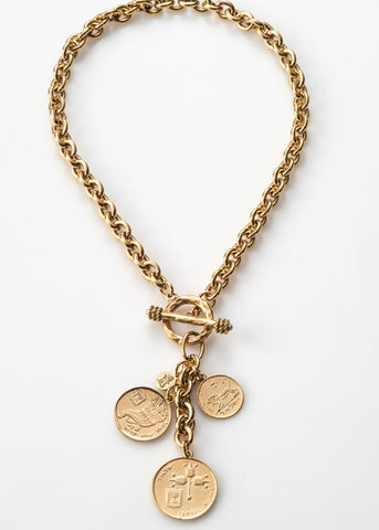 Israeli Coin Cascade Necklace