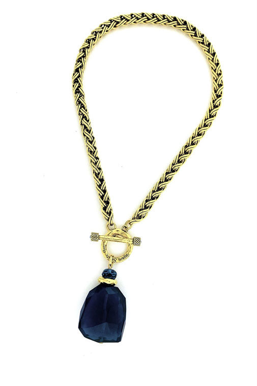Blue Agate Nugget Necklace