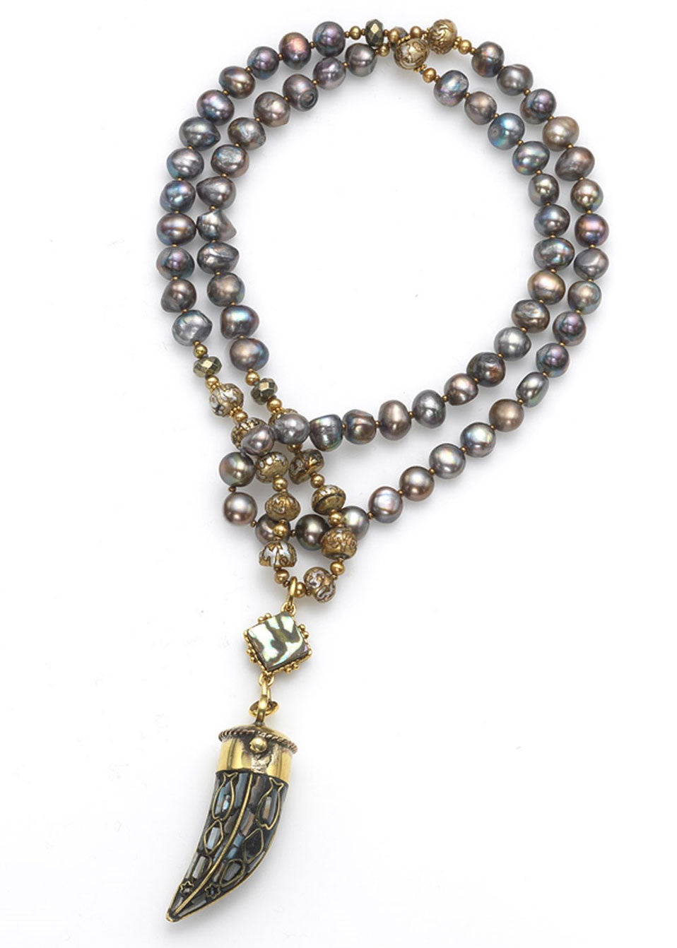 Neutral Gray & Gold Pearl Horn Necklace