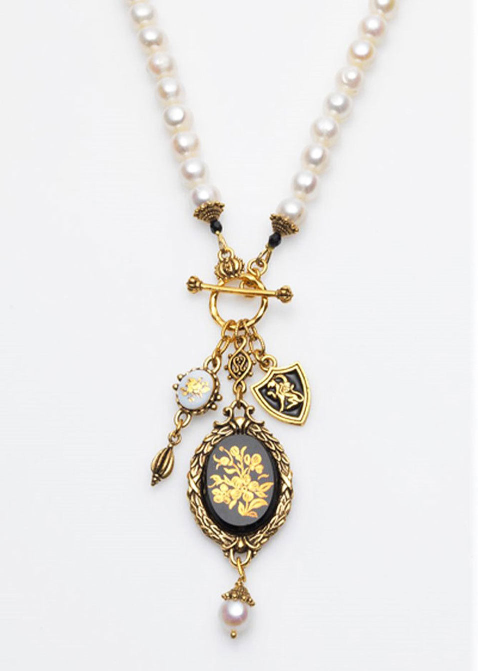Vintage Black & White Charm Necklace