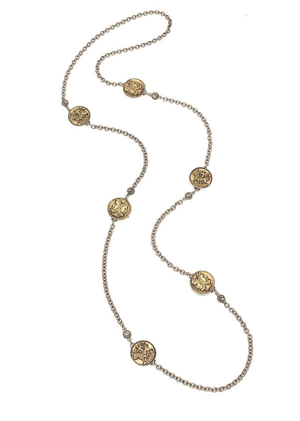 Silver-Gold Medallion Necklace