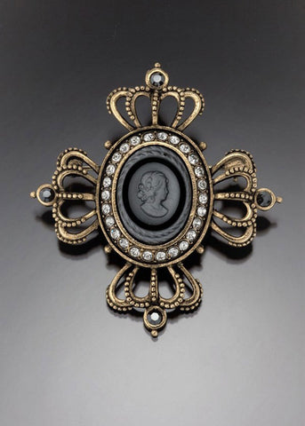 Matt Crystal Cameo Crown Brooch