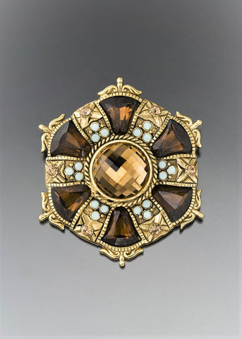 Vintage Topaz Crystal Medallion Brooch
