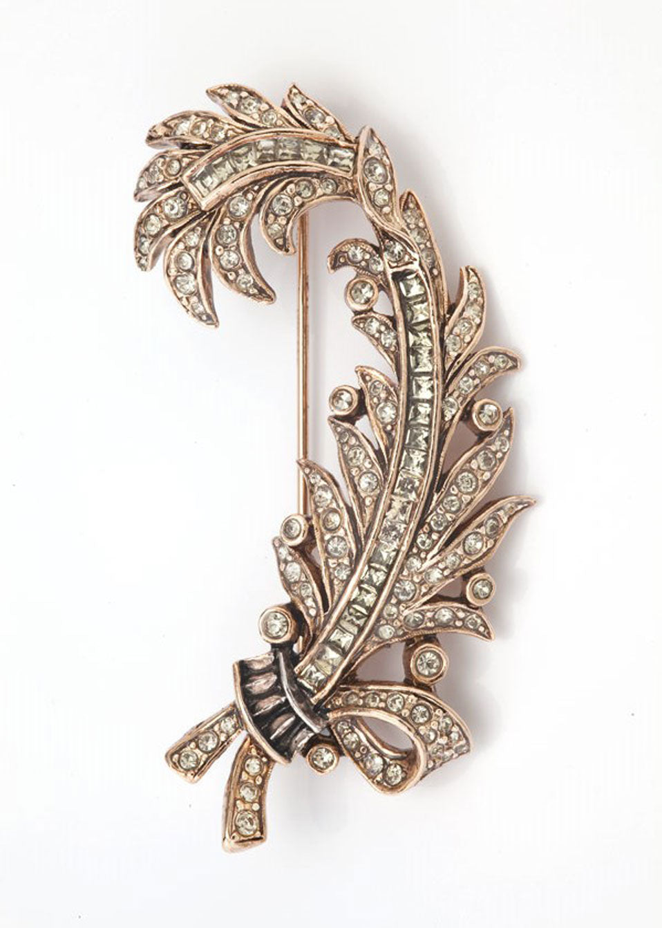 Rose Gold Pave Crystal Feather Brooch
