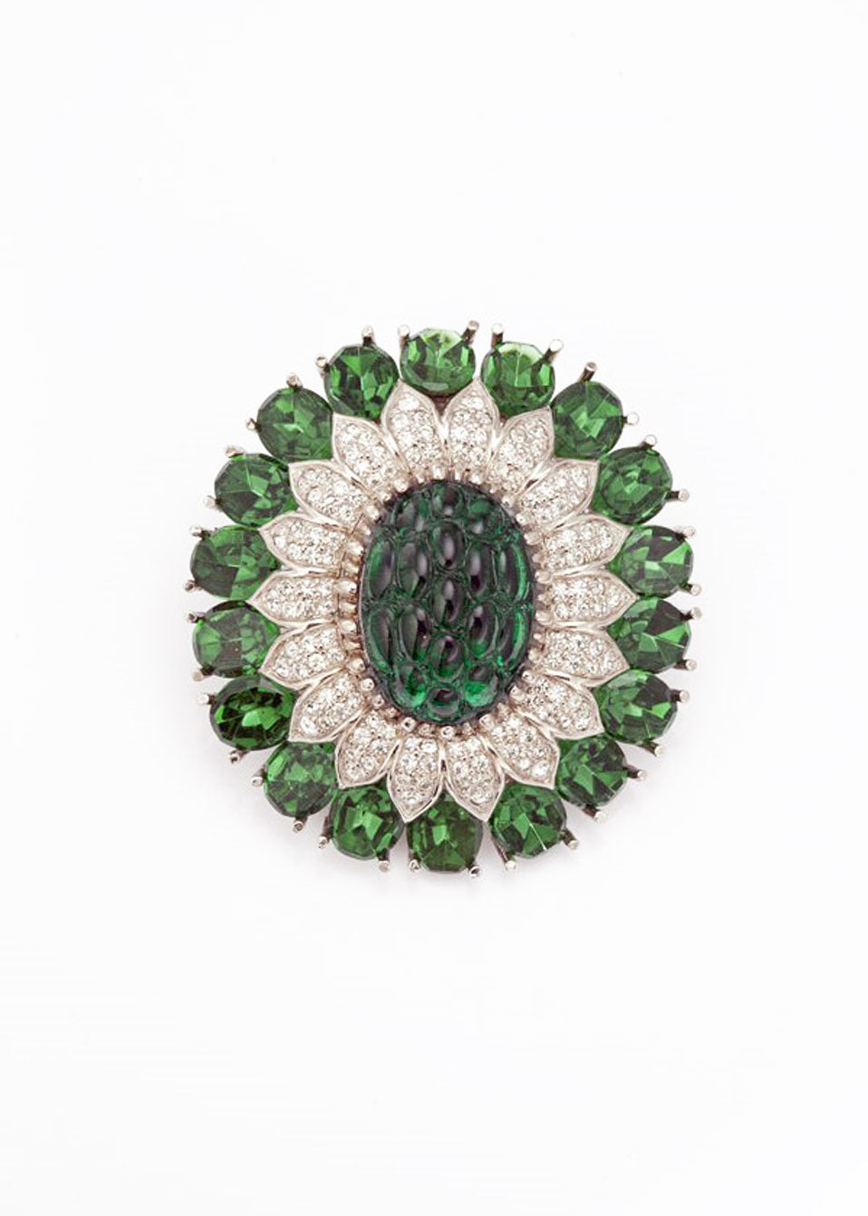 Large Tourmaline and Crystal Brooch