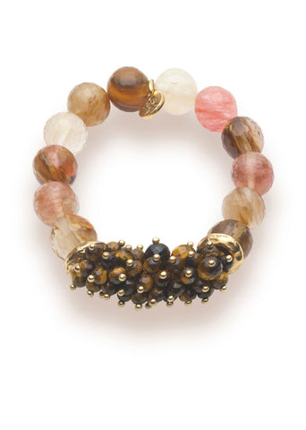 Cherry Quartz & Tigers Eye Bracelet