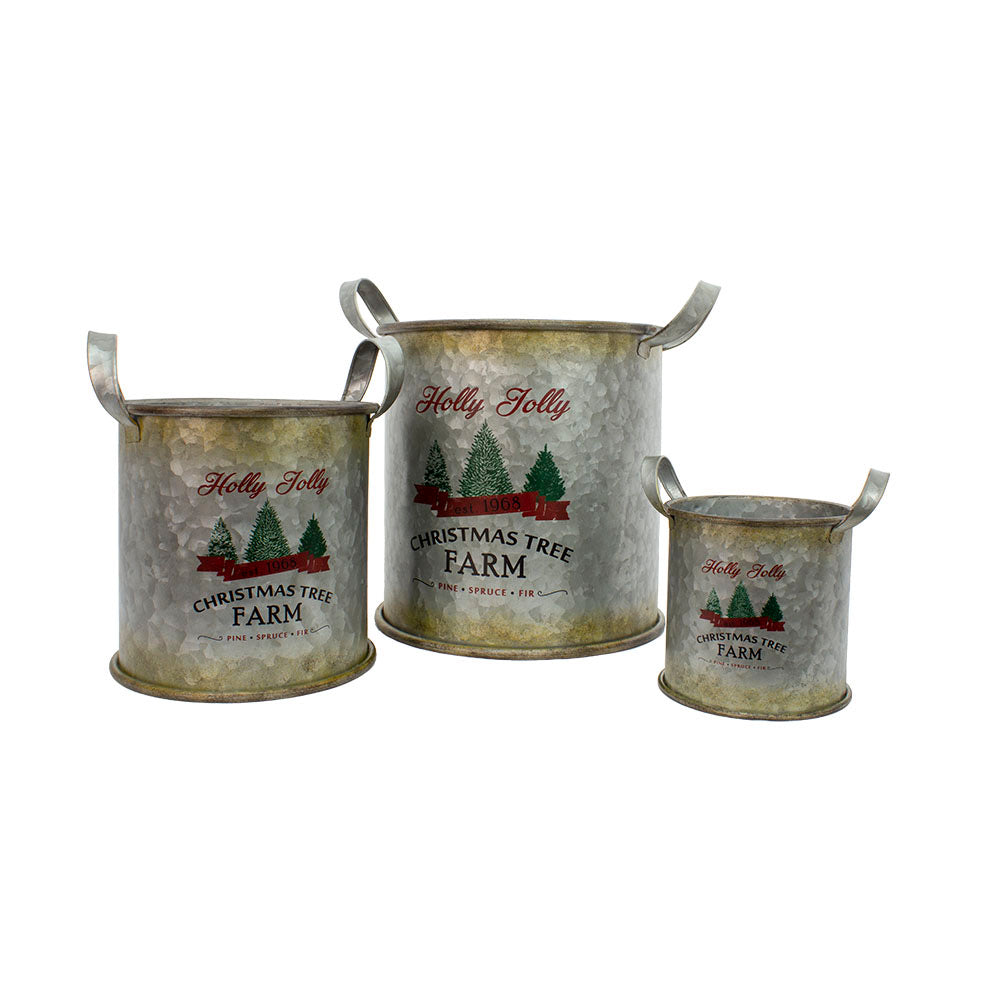 Galvanized Christmas Buckets- 3 sizes