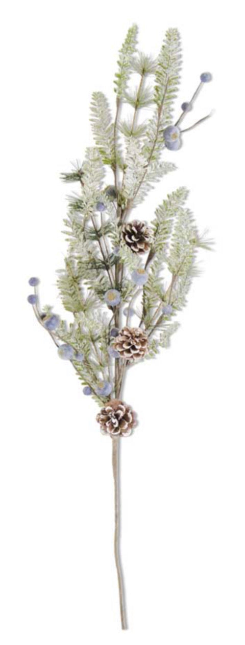 28 Inch Frosted Fir Pine Spray w/Pinecones and Blueberries