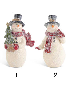 4.25 Inch Glittered Resin Vintage Snowmen Ornaments - 2 styles