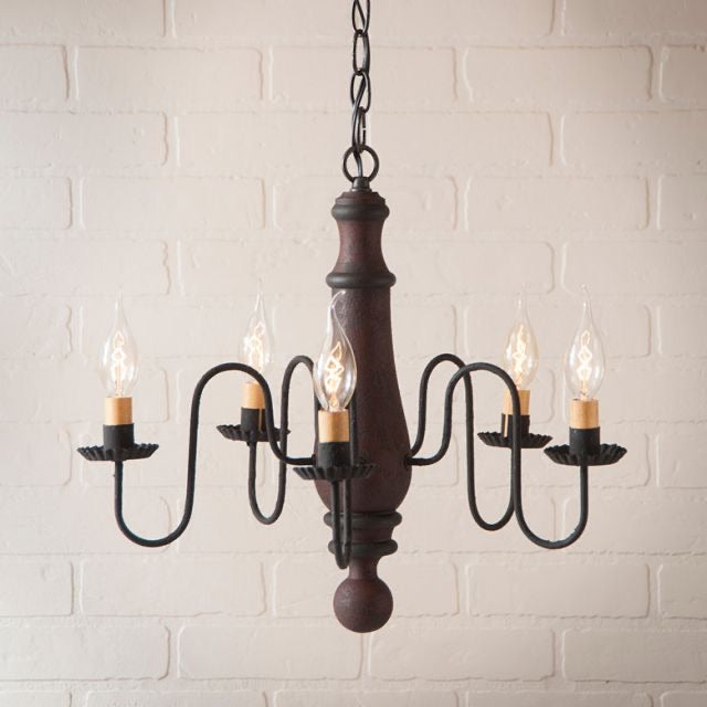 5-Arm Medium Norfolk Wood Chandelier in Hartford Red with Black Stripe