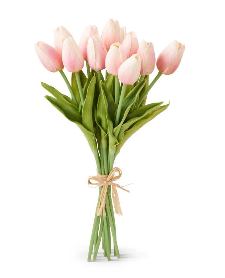 13.5 Inch Pink Real Touch Mini Tulip Bundle (12 Stems