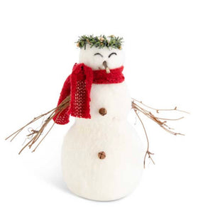 8.5 Inch Wool Snowman w/Twig Arms and Wreath Crown
