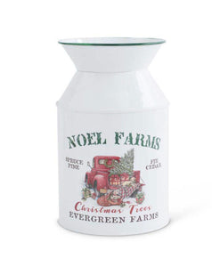 "8.25 Inch White Enamelware NOEL FARMS Milk Bottle 8.25""H x 5""Dia."