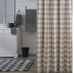WICKLOW CHECK SHOWER CURTAIN - NATURAL
