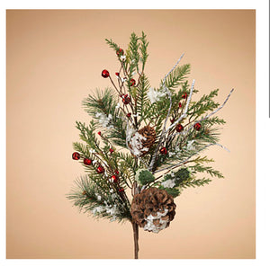"30""H Holiday Frosted Pine and Pinecone Pick"