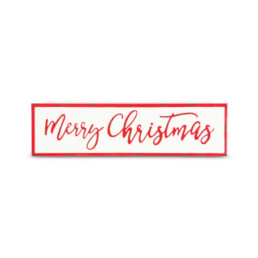 26 Inch White & Red Enamel MERRY CHRISTMAS Sign