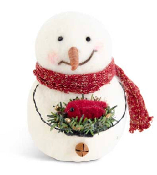 5 Inch Wool Snowman Holding Cardinal in Nest