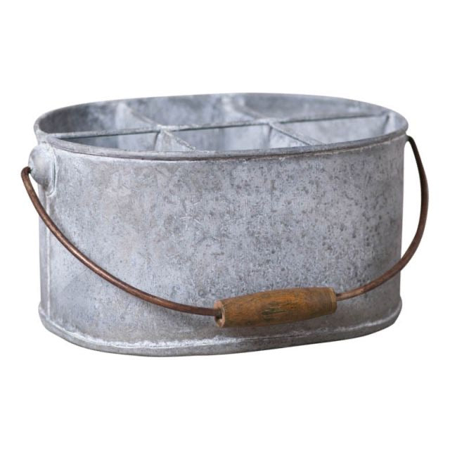 Oval Utensil Caddy in Weathered Zinc