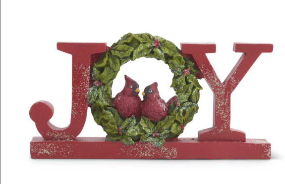 7.75 Inch Resin Red Glittered JOY Tabletop Cutout w/Cardinals