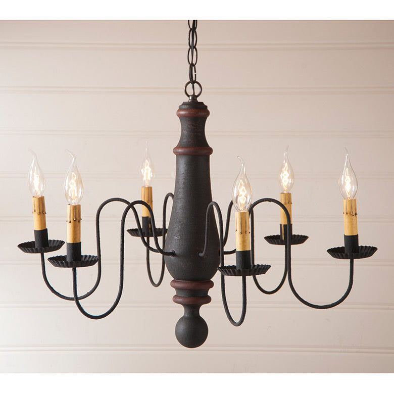 6-Arm Large Norfolk Wood Chandelier in Hartford Black with Red Stripe