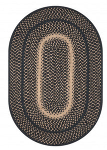 MANCHESTER BLACK - BEIGE JUTE BRAIDED OVAL RUGS- select size