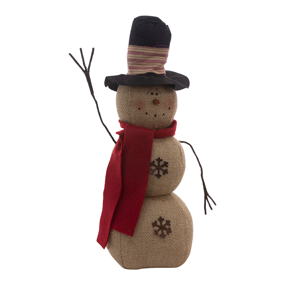 3 Stack Burlap Top Hat Snowman - 18 in