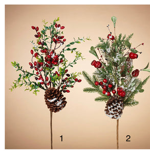"28""H Holiday Berry Pick w/ Pinecone- 2 styles"