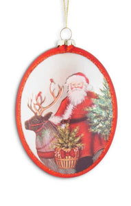 5.75 Inch Matte Red Glass Flat Oval Ornament w/Santa and Reindeer
