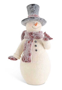 14.75 Inch Glittered Resin Vintage Snowman w/Cardinal