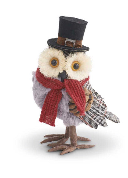 7 Inch Gray Plaid Owl w/Black Top Hat