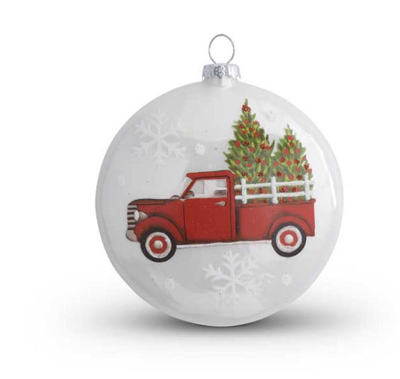 4.5 Inch Cream Glass Flat Round Ornament w/Red Truck