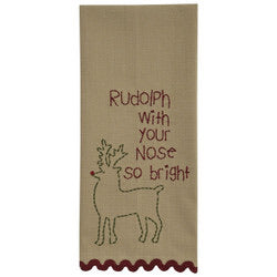 Tan embroidered dish towel- 4 styles