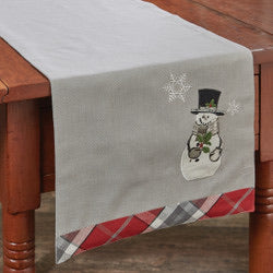 SNOWMAN AND HOLLY TABLE RUNNER