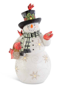 10.5 Inch Glittered LED Resin Snowman w/Black & White Scarf