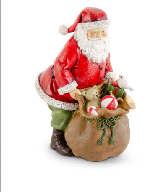 7.25 Inch Glittered Resin Traditional Santa w/Sack of Toys