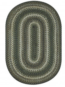 PINECONE GREEN JUTE BRAIDED OVAL RUGS- select size