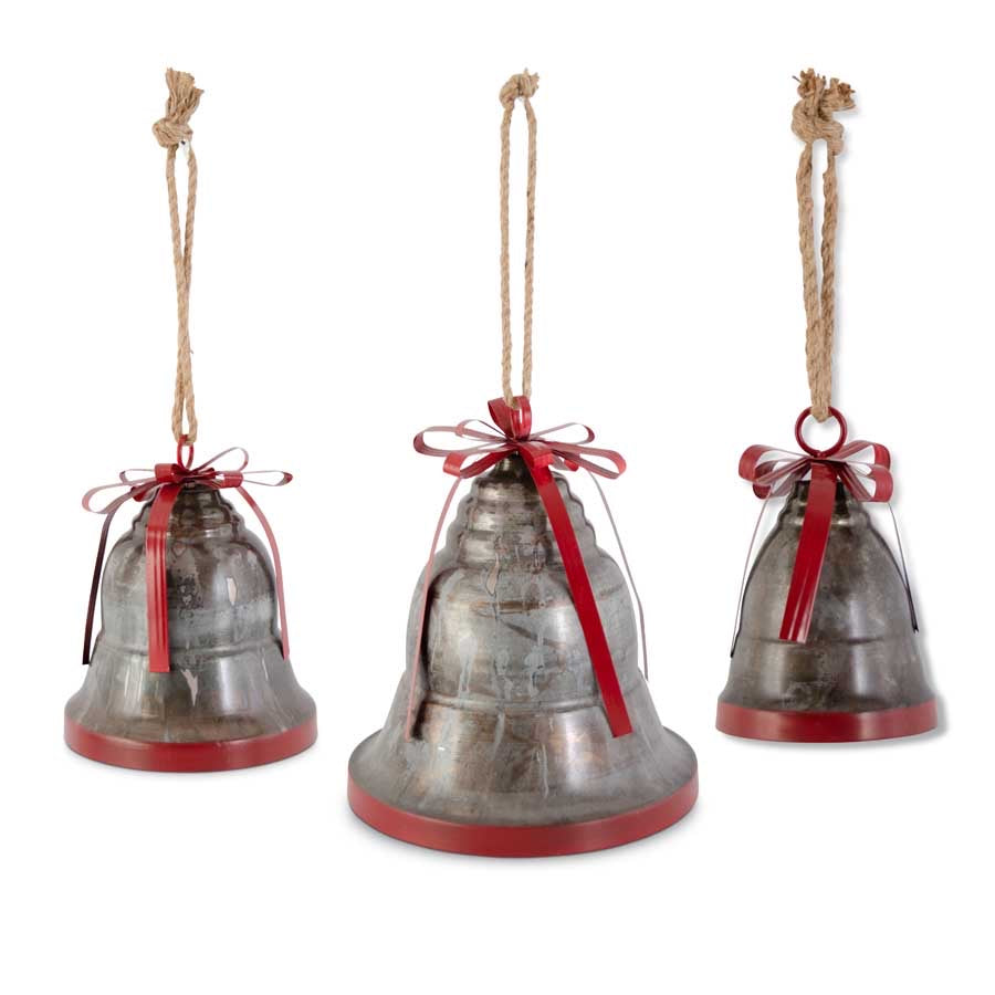 Marbled Dark Metal Bells w/Ribbed Red Bow - 3 sizes