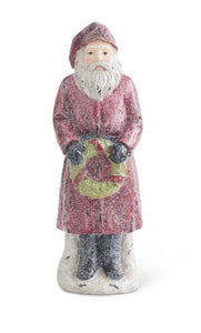 12 Inch Vintage Glittered Resin Santa w/Wreath