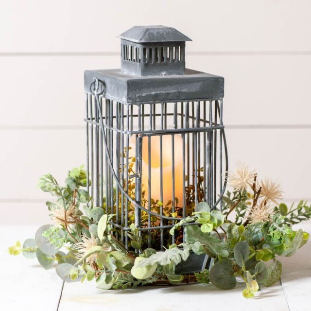 Square Cage Lantern in Weathered Zinc