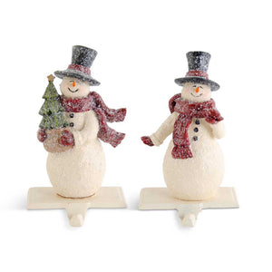 Glittered Resin Vintage Snowmen Stocking Holders (2 Styles)