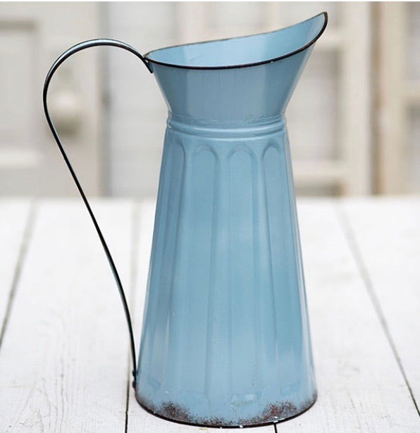 Blue tin pitcher