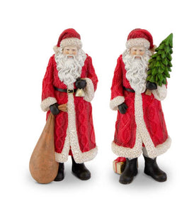 Large Traditional Resin Santas w/Red Cable Knit Coat (2 Styles