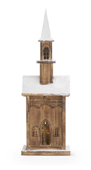 24 Inch Vintage LED Weathered Wood Church w/Snow